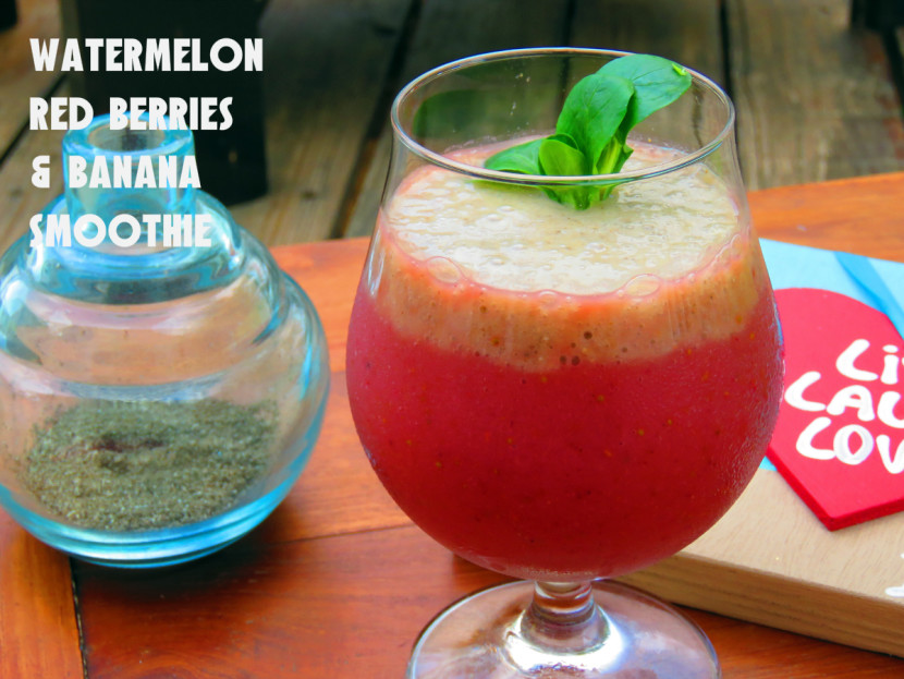 Watermelon Red Berries & Banana Smoothie