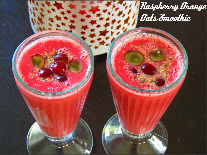 Raspberry Orange Oats Smoothie
