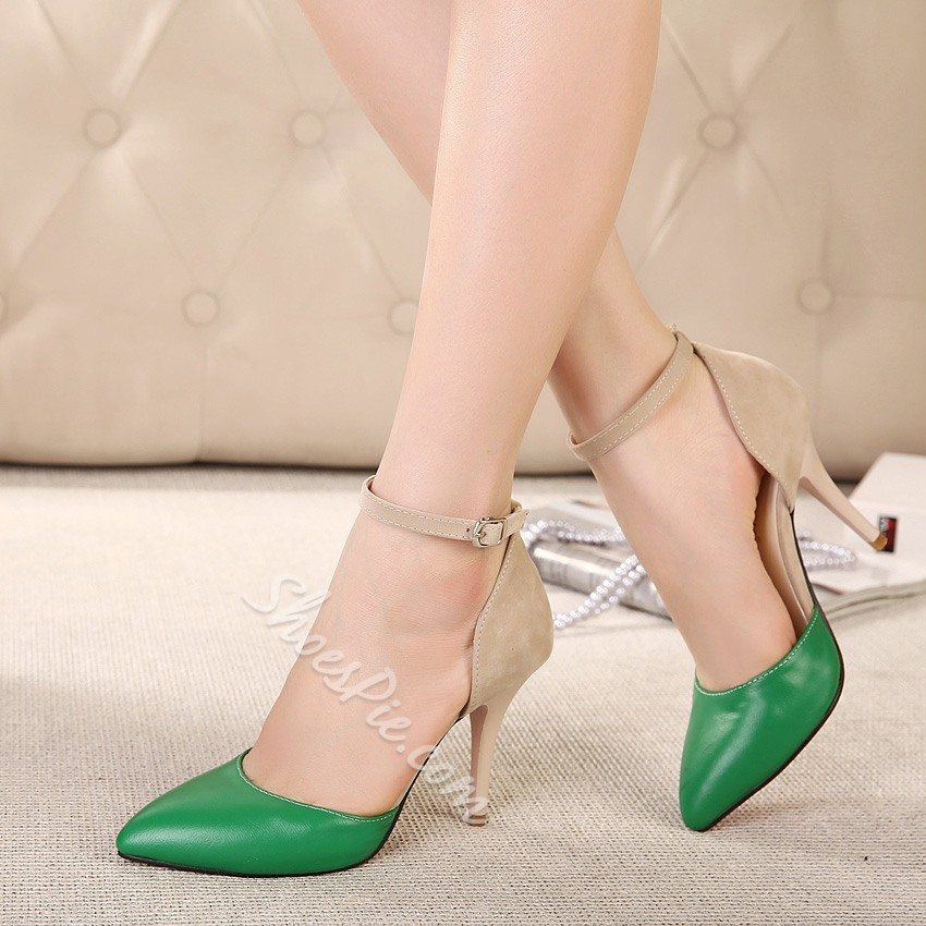 Shoespie Color Contrast Ankle Strap Pointed-Toe Heels