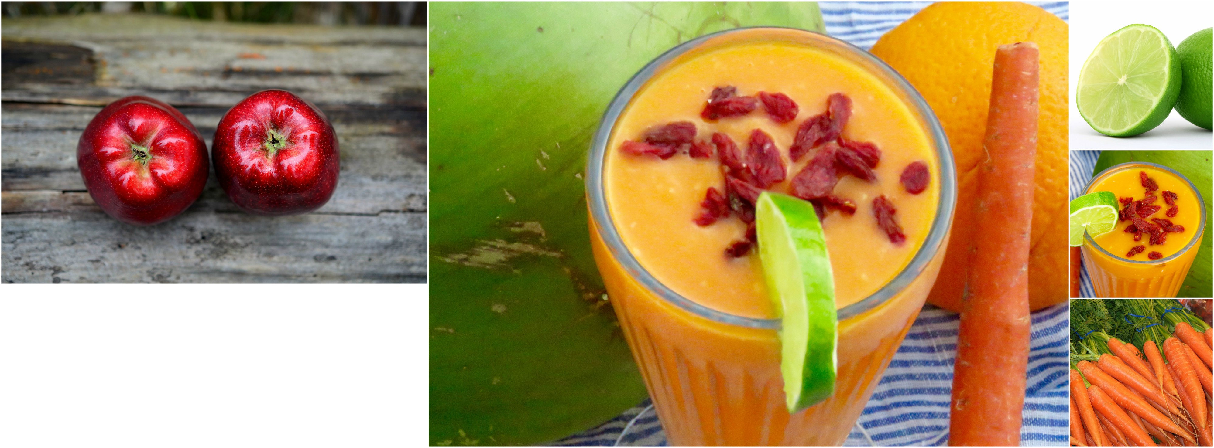 Carrot Apple Coconut Smoothie Collage