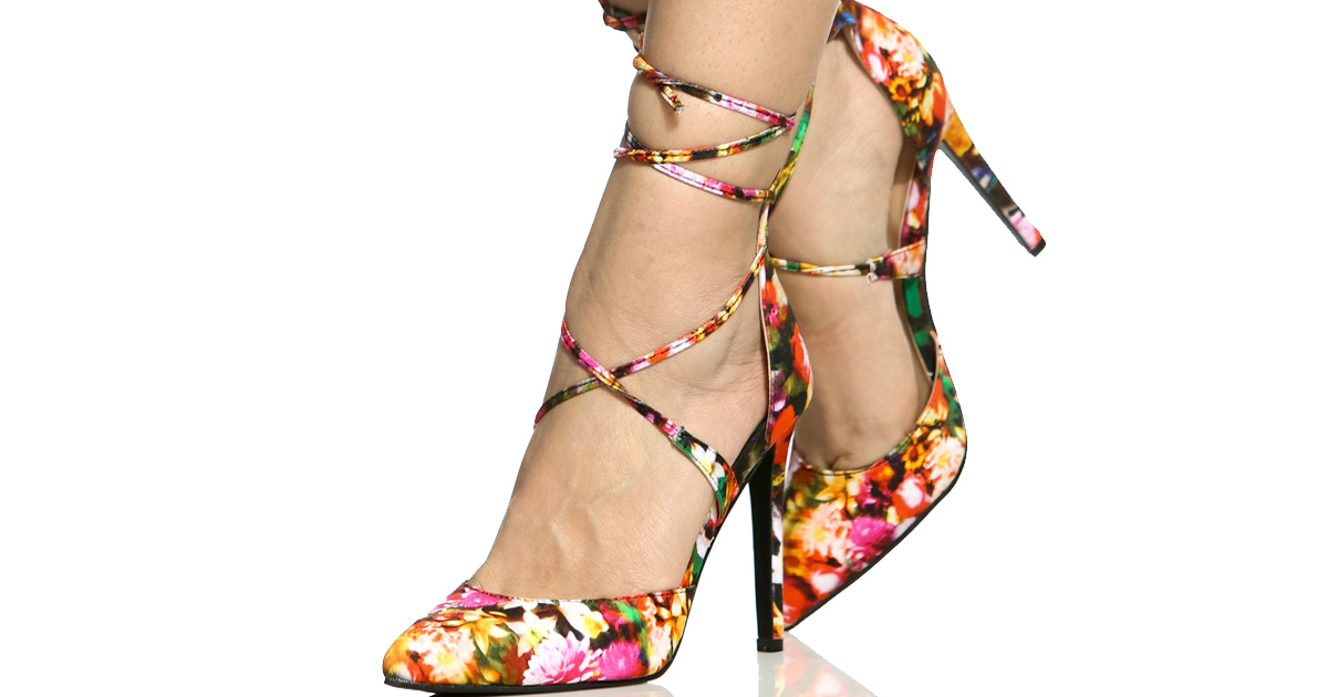 Floral Print Woven Pointed Toe Lace Up Heels
