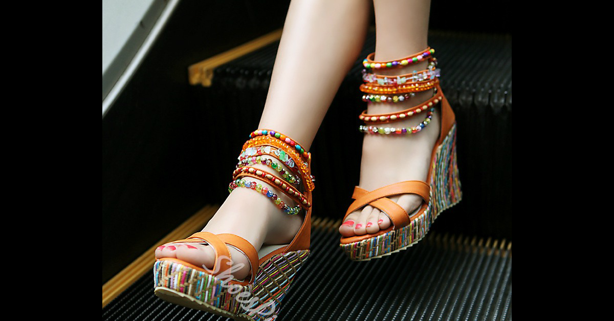 Shoespie Ankle Beading Wrap Wedge Sandals 2