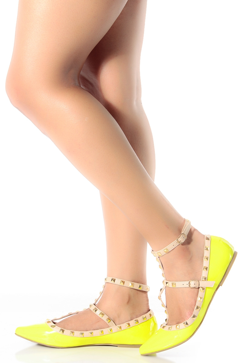 Lemon Patent Studded Pointed Toe Flats