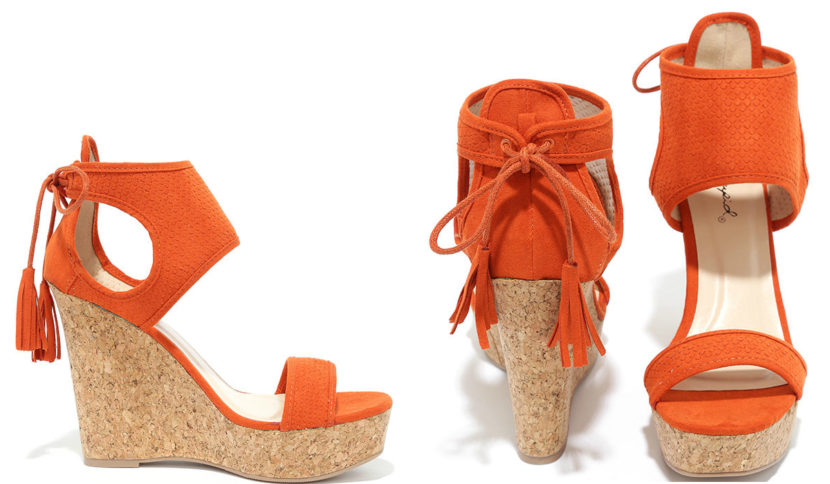 Newfangled Burnt Orange Suede Wedge Sandals