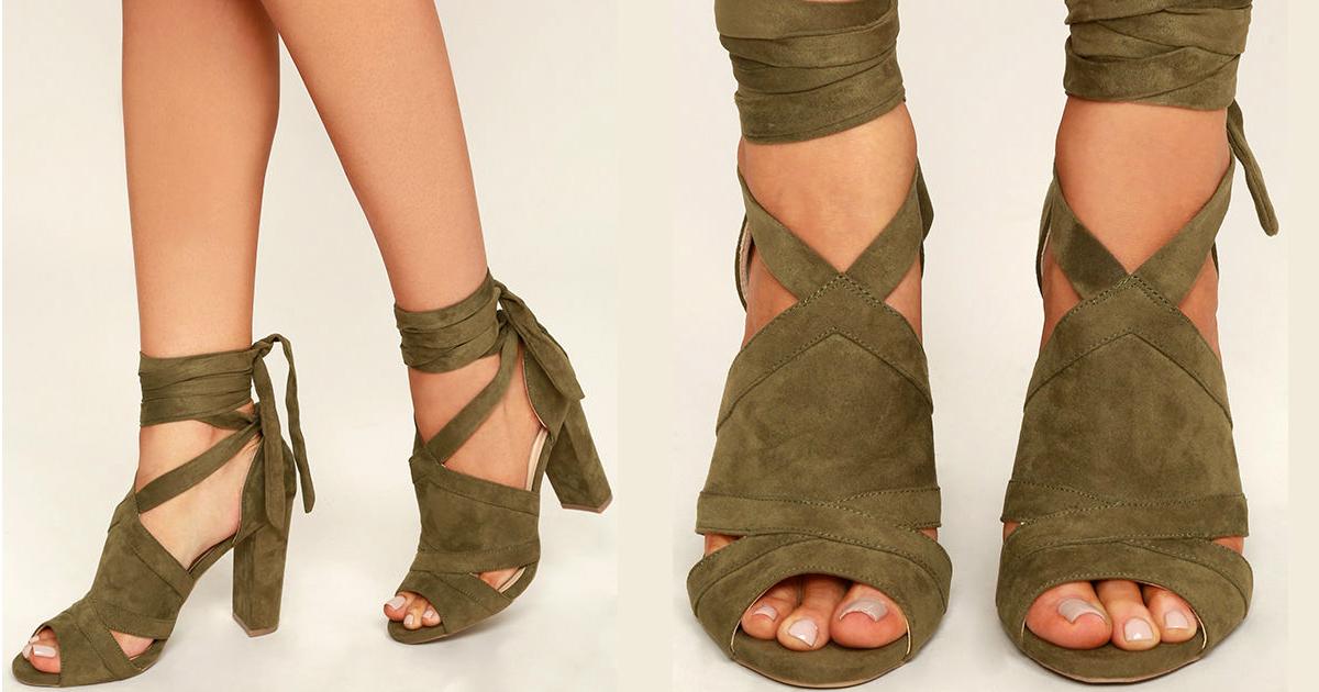 8df9de210c39 A Bit of Fun Olive Green Suede Lace-Up Heels - You Posh Girl