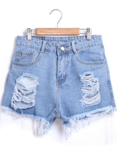 Blue Ripped Fringe Denim Shorts $15.99