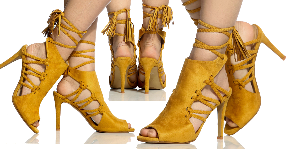 04a500311da8 Yellow Faux Suede Braided Peep Toe Heels - You Posh Girl